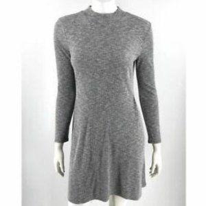 Madewell CityBlock Gray Ribbed Long Sleeve Dress
